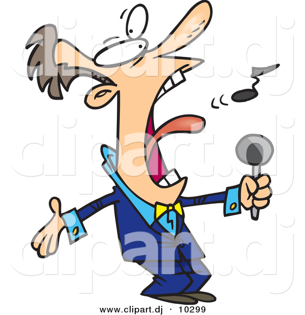 600x620 Vector Clipart Of A Cartoon Man Singing Anthem By Toonaday