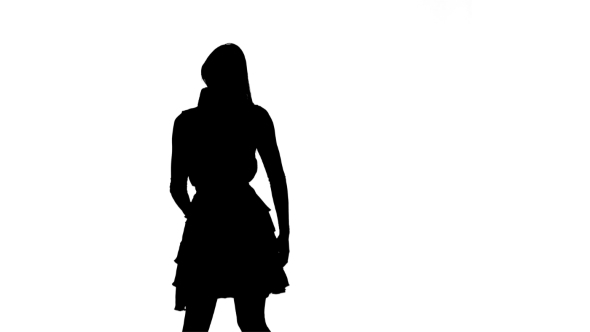590x332 Silhouette Of Girl Singing In A Retro Microphone On White