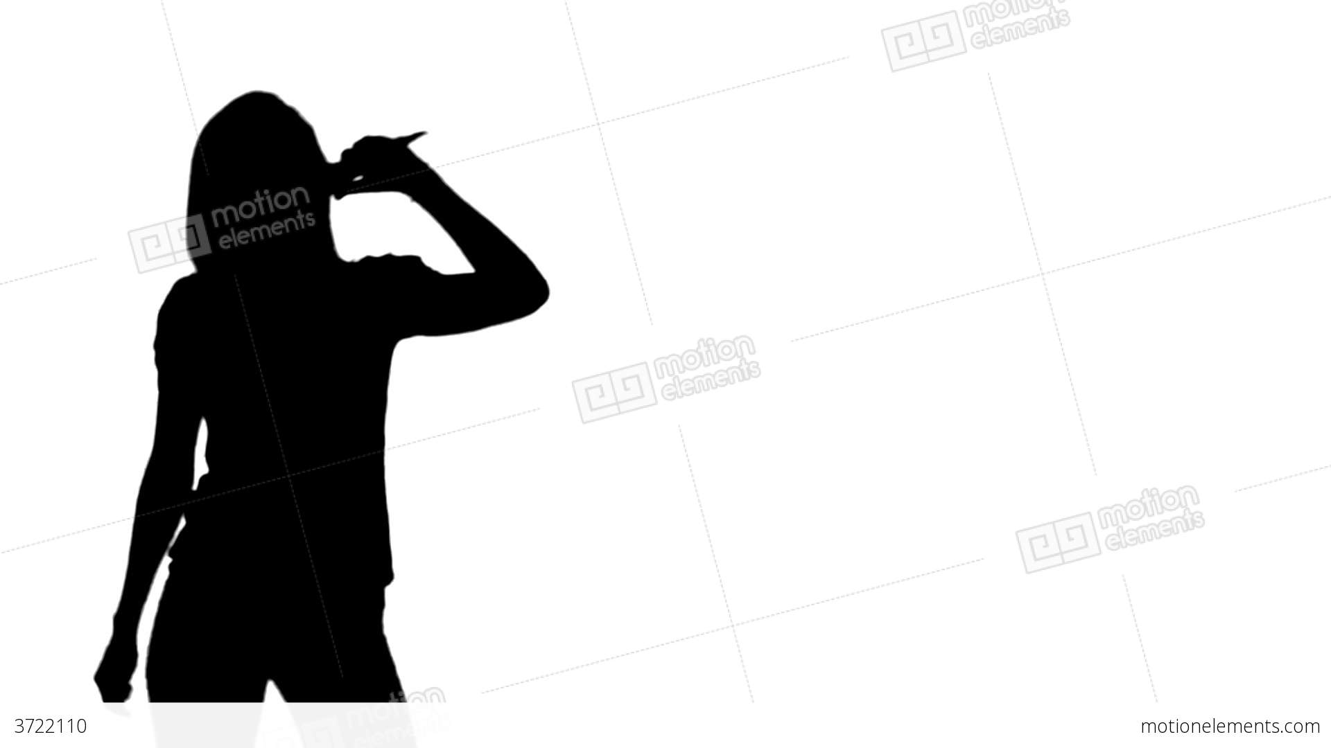 1920x1080 Animation Of A Woman Silhouette Singing Stock Animation 3722110