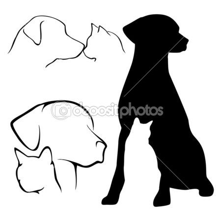 450x450 Dog And Cat Silhouette Stock Illustration