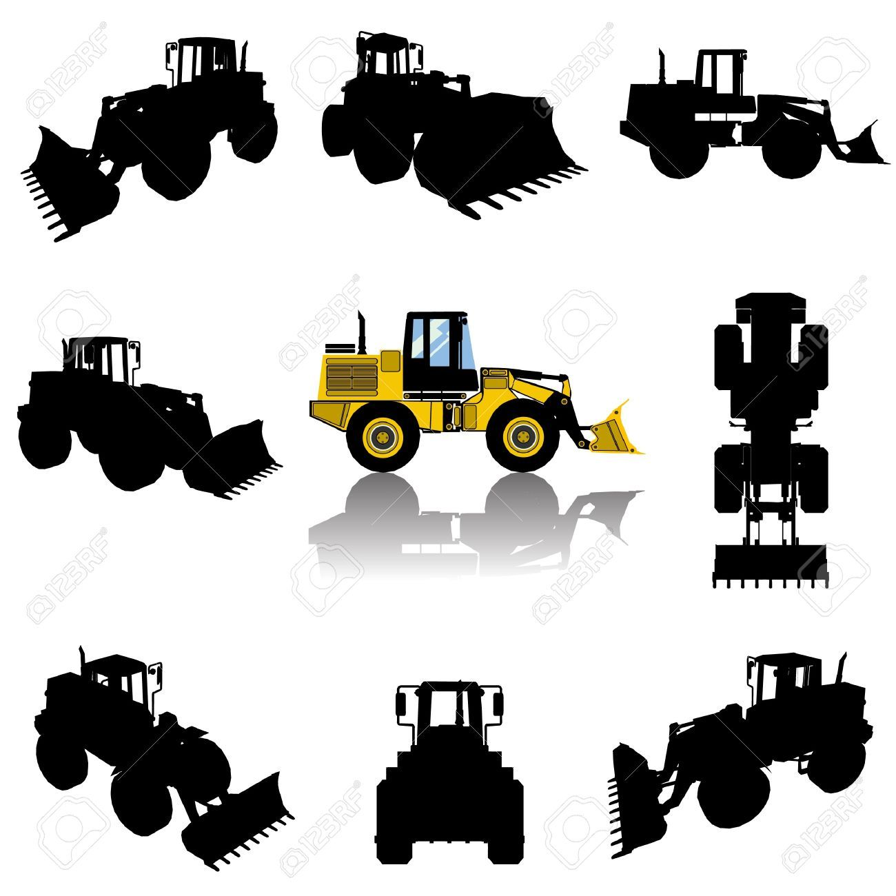 1300x1300 Silhouette Of A Bulldozer Used In Construction Sites. Hafiz'S