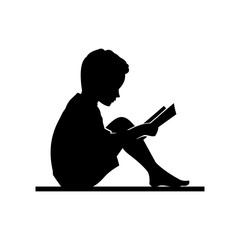 240x240 Little Kid And Girl Read A Book Vector Silhouette