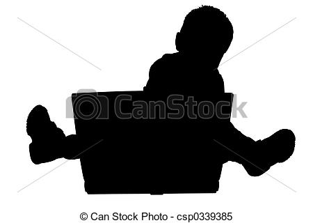 450x320 Silhouette Child. Silhouette Over White. Toddler Boy Sitting