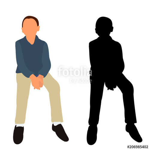500x499 Isolated, Icon, Silhouette Boy Sitting Stock Image And Royalty