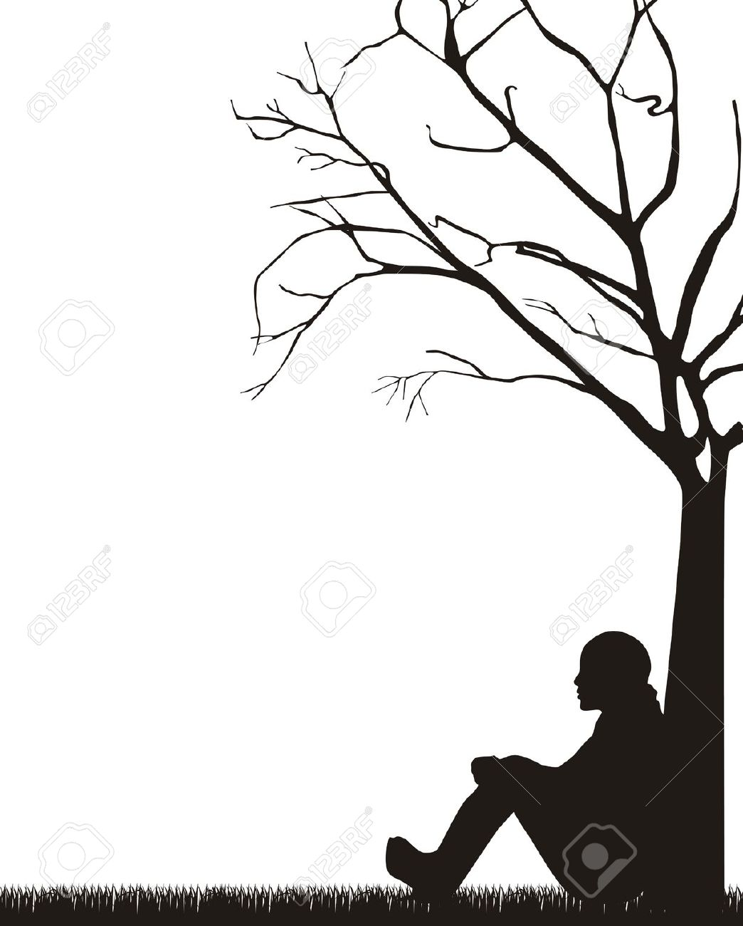 1044x1300 Boy Sitting Under Tree Drawing