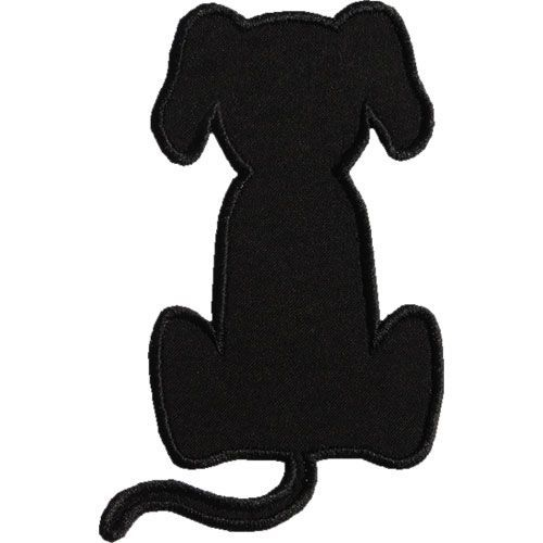 500x500 Dog Applique Designs Sitting Dog Silhouette Applique Design