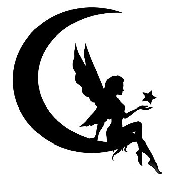 355x355 Fairy Sitting On Moon Stencil Made From 4 Ply Matboard