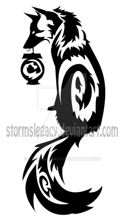 400x717 Tribal Kitsune Fox With Spirit Lantern By Stormslegacy
