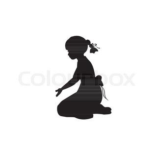 320x320 Silhouette Girl Sitting Lap Prayer. Vector Illustration Stock