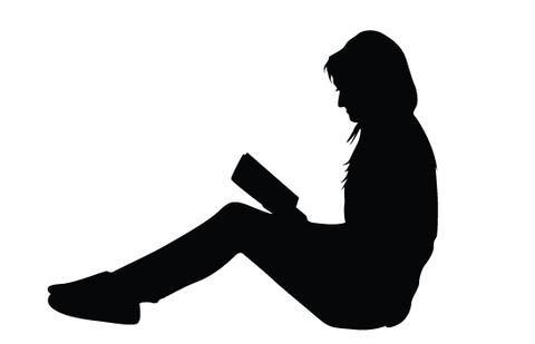 480x309 Women Reading Books Silhouette Vector Silhouettes, Clip Art