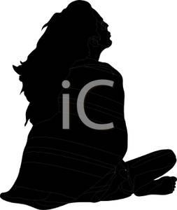 253x300 Black Silhouette Of Woman Sitting Her Legs Crossed