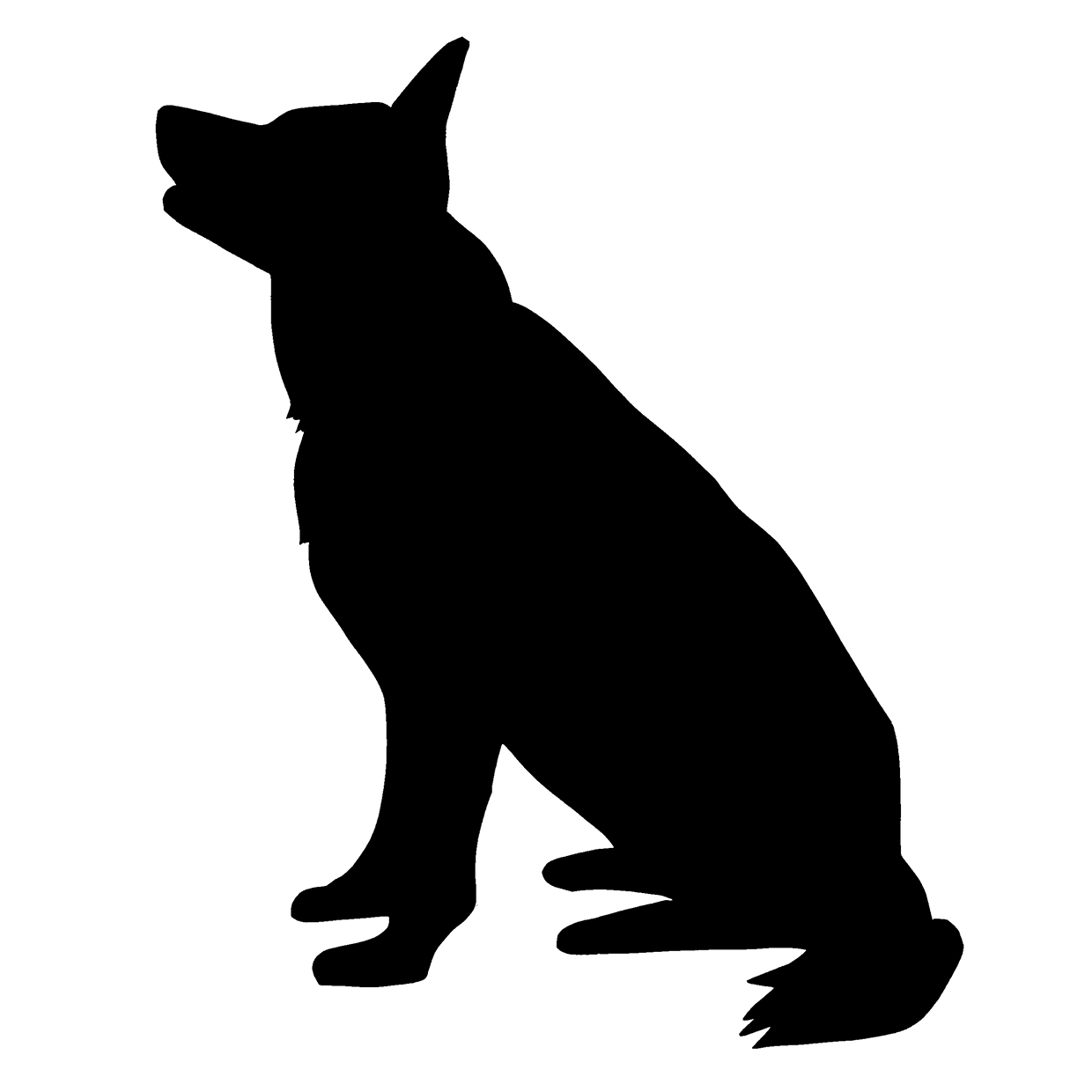 1240x1240 Sitting Dog Silhouette With Leash