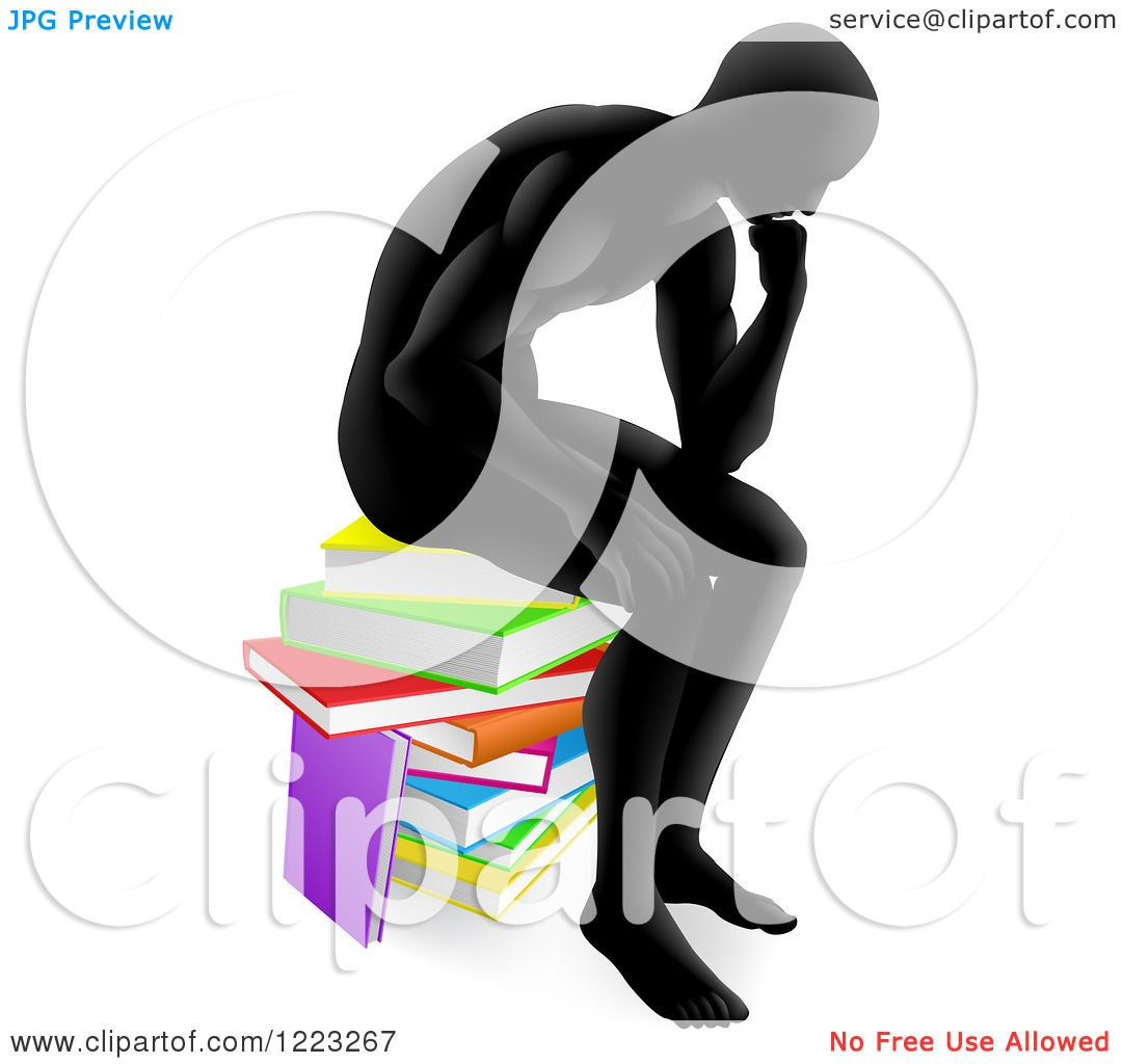 1080x1024 Clipart A Silhouetted Man Sitting And Thinking On A Stack