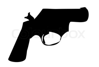 320x215 Gun Doodle On Black Background Stock Vector Colourbox