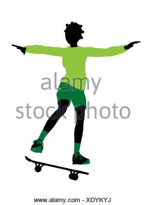 300x420fricanmerican Female Skateboarder Illustration Silhouette On