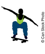 150x180 African American Skateboarder Silhouette. African American