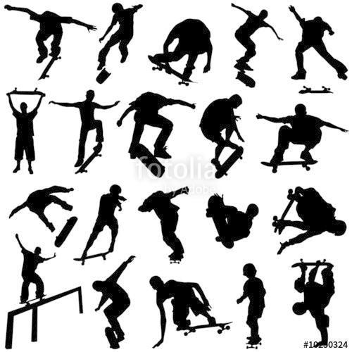 500x500 Skateboarding Silhouette Vector Stock Image And Royalty Free