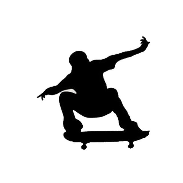 640x640 13.213.2cm Cartoon Jumping Skateboarding Decals Stunt Silhouettes