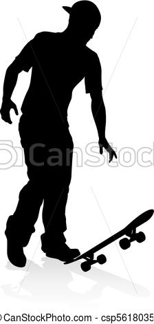 224x470 Skater Skateboarder Silhouette. Very High Quality And Highly