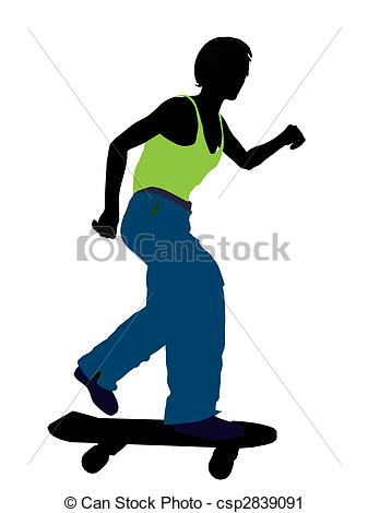 337x470 African American Skateboarder Silhouette. African American
