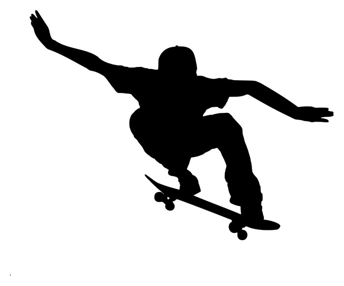 700x581 Silhouette Of A Skateboarder On White Background Sticker Pixers