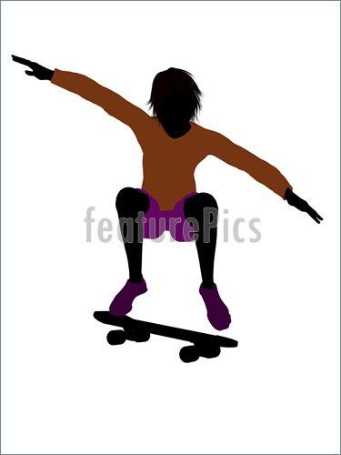 375x500 Illustration Of Male Skateboarder Silhouette