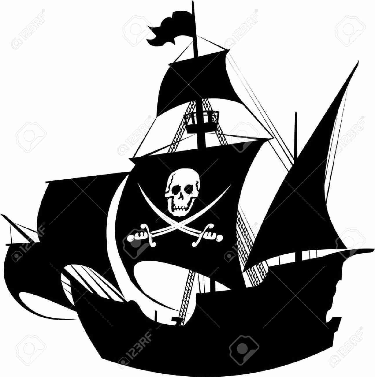 1294x1300 Silhouette Of A Pirate Ship With The Image Skeleton On Fancy