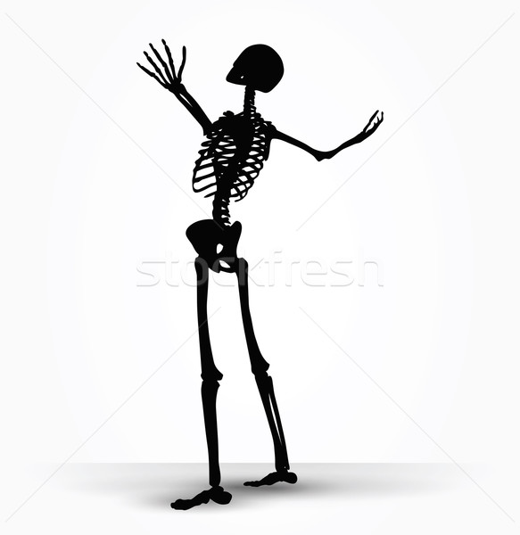 583x600 Skeleton Silhouette In Power Pose Vector Illustration Benguhan