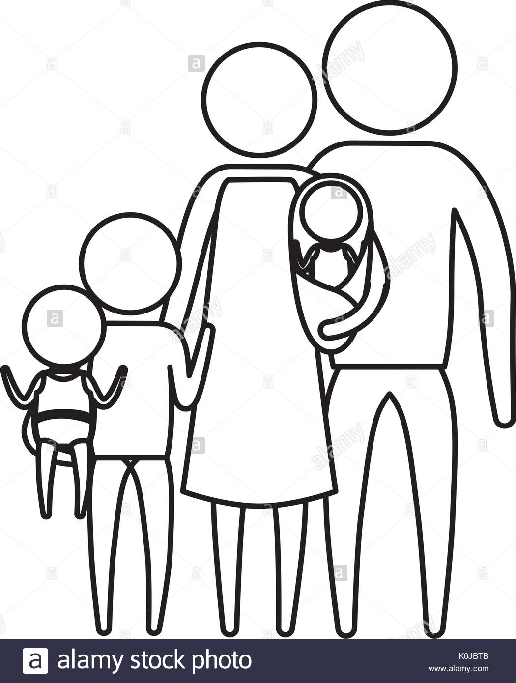 1050x1390 Sketch Silhouette Of Pictogram Big Family Group In Clothes Stock