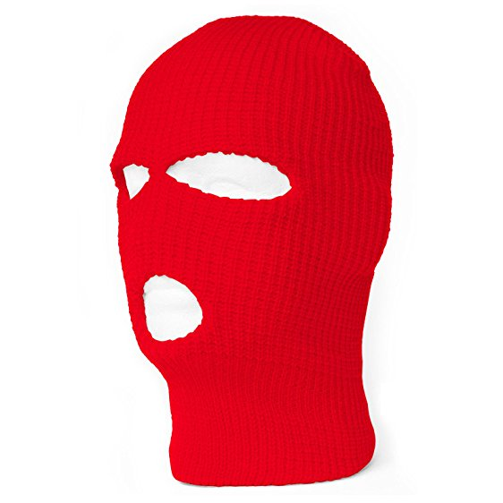 562x562 Face Ski Mask 3 Hole (7 Colors Available) (Red)