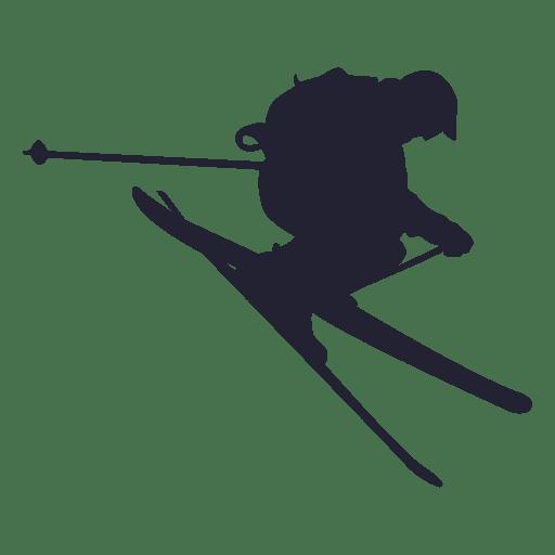 512x512 Ski Sliding In Jump Silhouette