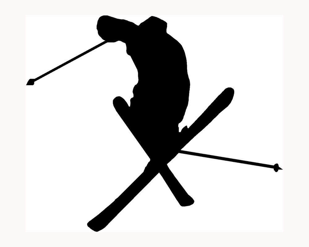 1000x800 Skier Silhouette Sticker Ski Car Window Vinyl Decal Extreme Sports