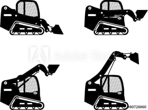 500x372 Skid Steer Loaders. Heavy Construction Machines. Vector