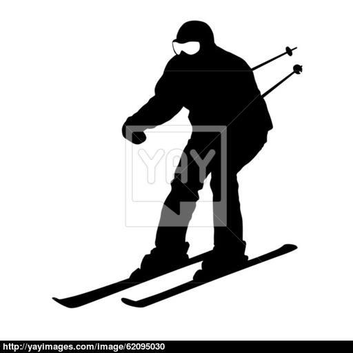 512x512 Mountain Skier Speeding Down Slope. Vector Sport Silhouette