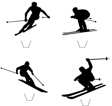 385x364 Novelty Skier Silhouette Mix 12 Edible Stand Up Wafer Paper Cake