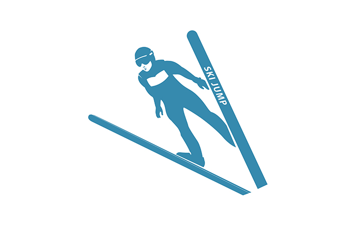 720x480 Ski Sport Icon Template. Jumping Skier Silhouette. Winter Sports