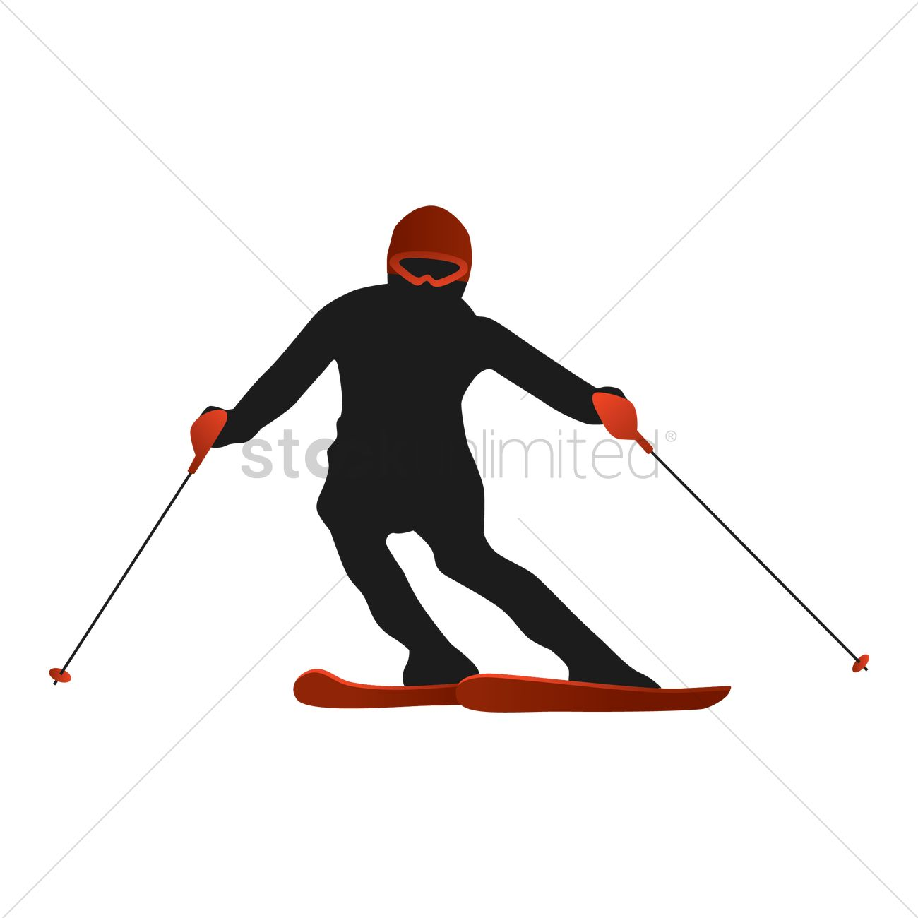 1300x1300 Free Skier Silhouette Vector Image