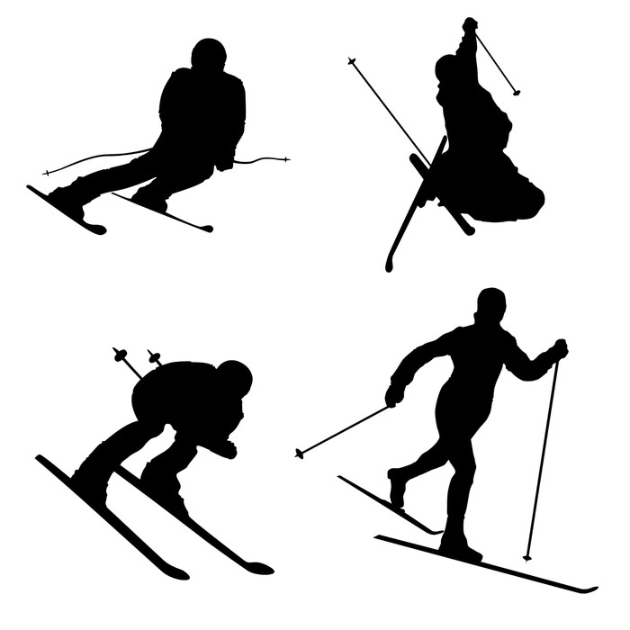 700x700 Silhouette Set Of Different Winter Sports Skiing Part 2 Wall Mural