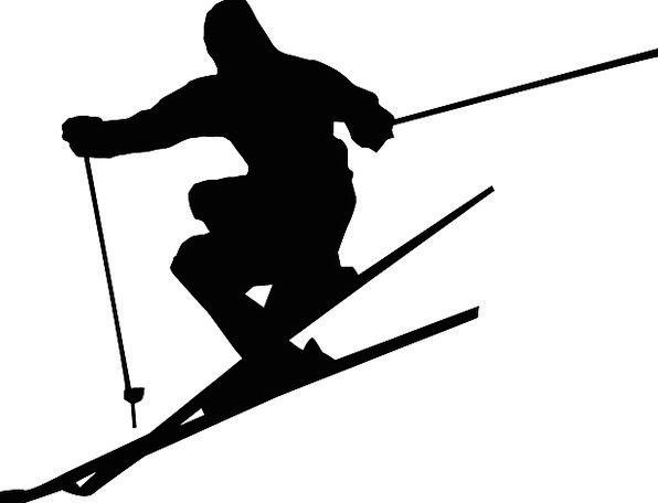 596x456 Skiing, Sticks, Firewood, Alpin, Silhouette, Outline, Jump, Sport