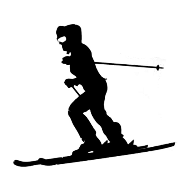640x640 12.5cm10.9cm Interesting Extreme Skiing Silhouette Sports Decal