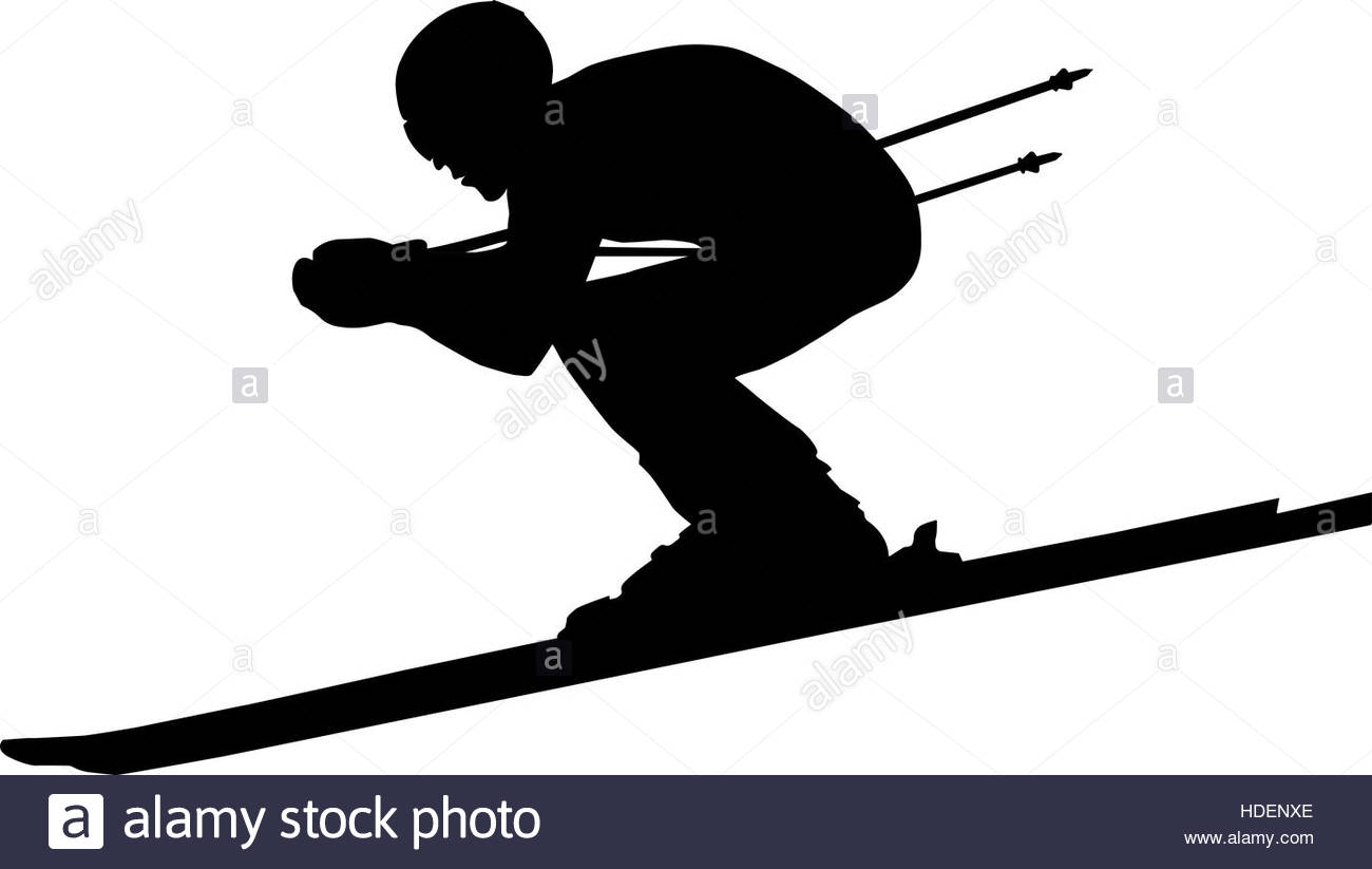 1300x823 Downhill Man Athlete Skiing To Competition In Alpine Skiing. Black