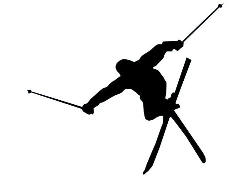 500x353 Wallmonkeys Wm175700 Skiing Silhouette Wall Decal Peel