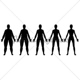 325x325 Obese To Skinny Female Silhouette Side View Gl Stock Images