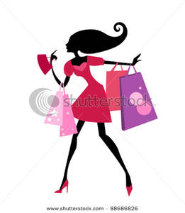 261x300 Skinny Girl Going Going Shopping Clipart Picture