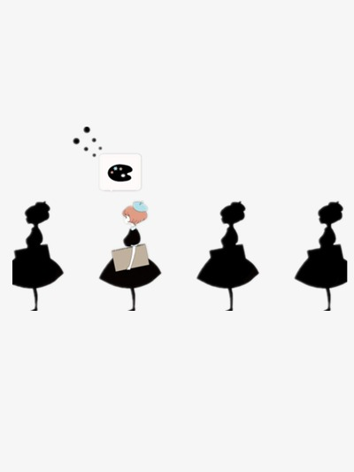 400x533 Creative Black Silhouettes, Girl, Black, Skirt Png Image