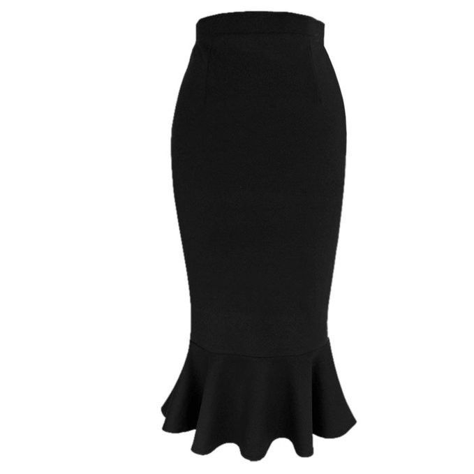 679x679 Savoir Faire Skirt In Black Trumpets, Silhouettes And Stretch Fabric