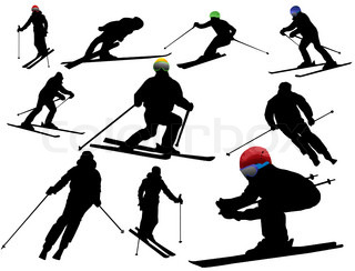 320x244 Twenty One Silhouette Of Skiers. Downhill Racing, A Snowboard