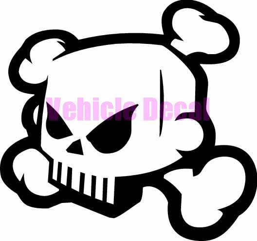 528x494 Skull And Cross Bones 2 Jdm Car Vinyl Sticker Decal