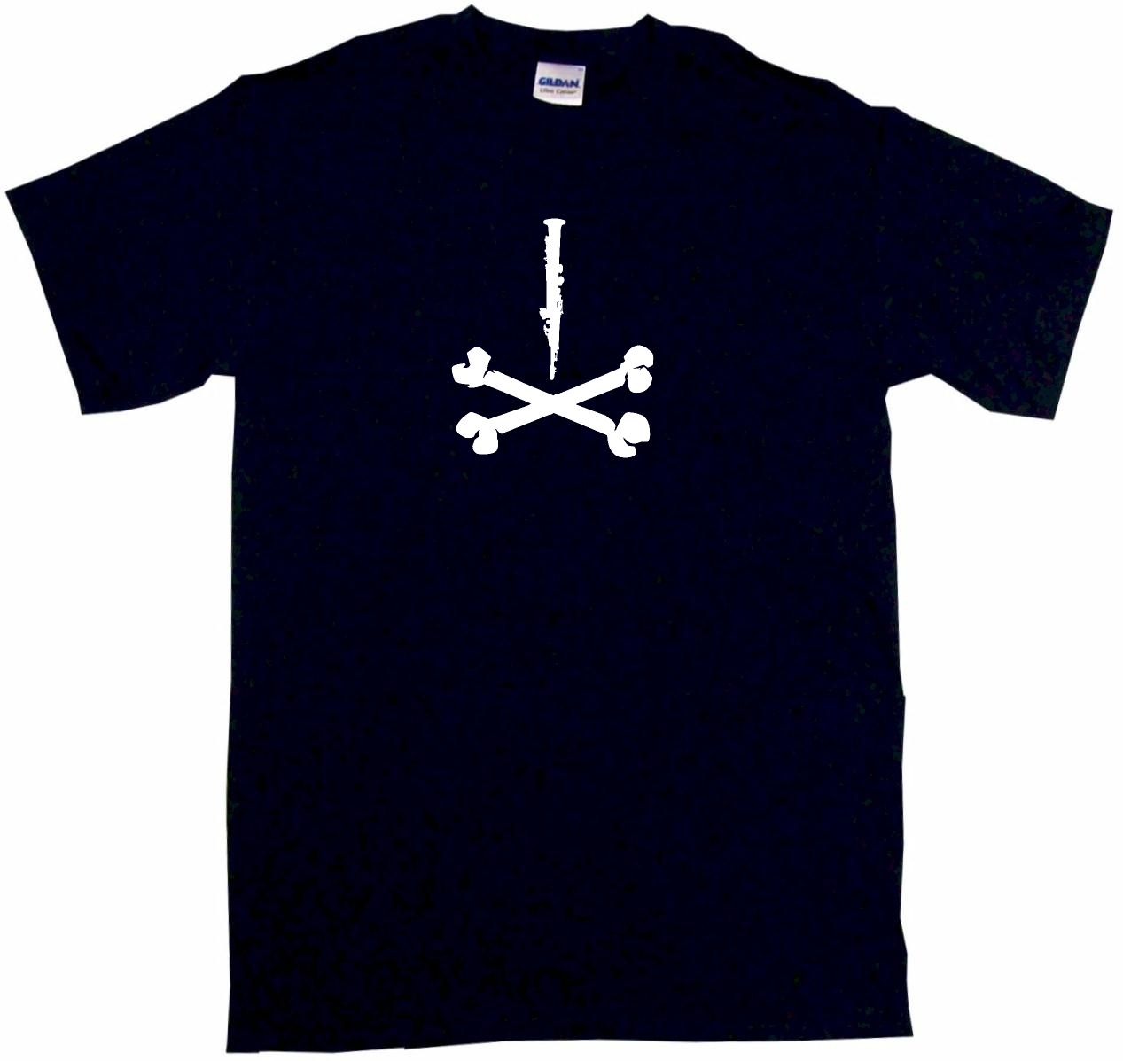 1267x1197 Clarinet Silhouette Pirate Skull Cross Bones Logo Mens Tee Shirt