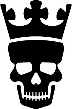 237x356 7 Inches Black Silhouette Of Skull With Crown Design